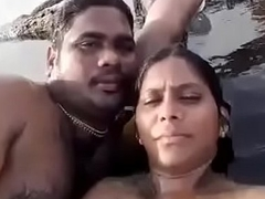 Desi BF with an increment of GF private divertissement on beach