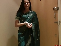 Handsome Girl Jasmine in Sari strips to show us